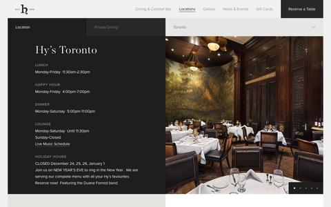 Screenshot of Locations Page hyssteakhouse.com - Hy's Steakhouse & Cocktail Bar — Toronto - captured Nov. 15, 2016