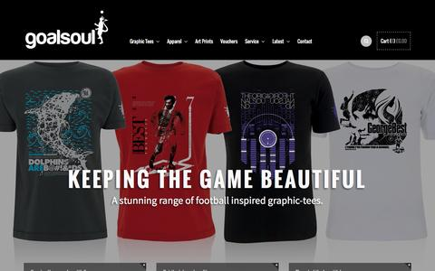 Screenshot of Home Page goalsoul.net - Home to a unique range of graphic t-shirts, apparel and artwork. - captured Dec. 16, 2015