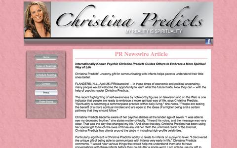 Screenshot of Press Page christinapredicts.com - Online Spirit advisors and spiritual guides - Christina Predicts - captured June 14, 2016