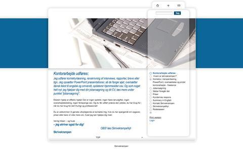 Screenshot of Home Page skrivekrampen.com - Skrivekrampen - Kontorarbejde udføres: - captured Sept. 26, 2014