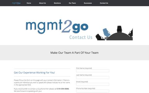 Screenshot of Contact Page mgmt2go.com - Contact Us   mgmt2go - captured July 26, 2018