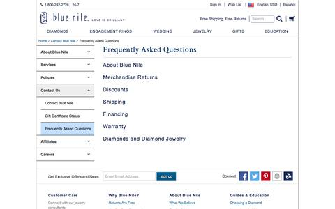 Screenshot of FAQ Page bluenile.com - Frequently Asked Questions   Blue Nile - captured Jan. 25, 2018