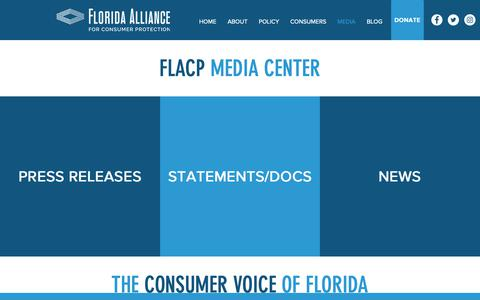 Screenshot of Press Page flacp.org - Media   Florida Alliance for Consumer Protection - captured Oct. 10, 2018