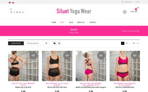 Screenshot of Products Page siluetyogawear.com - Products | Siluet Yoga Wear - captured Oct. 27, 2018