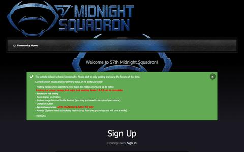 Screenshot of Signup Page midnightsquadron.com - Registration - 57th Midnight Squadron - captured Sept. 20, 2018