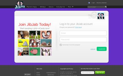 Screenshot of Login Page jibjab.com - Funny eCards, Happy Birthday eCards, and Holiday eCards - JibJab.com - captured July 20, 2014