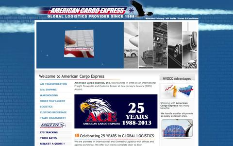 Screenshot of Home Page americancargoexpress.com - AMERICAN CARGO EXPRESS - Welcome - captured Sept. 30, 2014