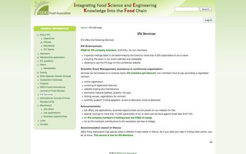 Screenshot of Services Page iseki-food.net - IFA Services | ISEKI-Food Association - captured Nov. 2, 2014