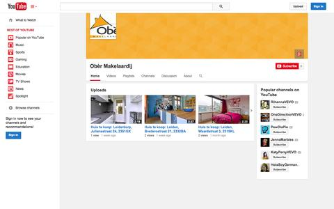 Screenshot of YouTube Page youtube.com - Obèr Makelaardij  - YouTube - captured Nov. 5, 2014