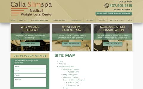 Screenshot of Site Map Page callaslimspa.com - Site Map | Orlando Weight Loss - captured Oct. 1, 2014
