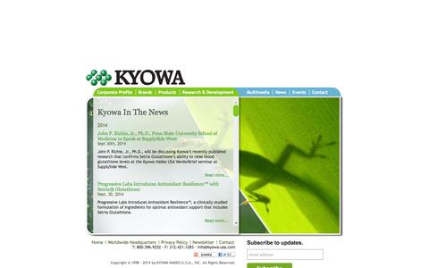 Screenshot of Press Page kyowa-usa.com - Kyowa USA | In The News - captured Oct. 6, 2014