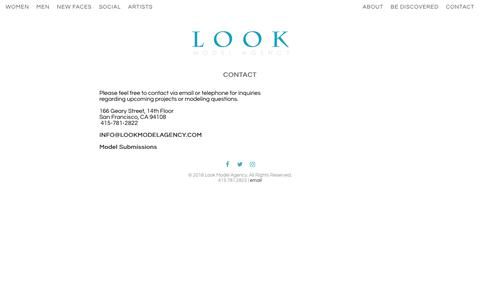 Screenshot of Contact Page lookmodelagency.com - Contact | LOOK Model Agency - captured July 23, 2018