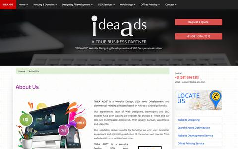 Screenshot of About Page idea-ads.com - 'IDEA ADS' - Responsive Web Design Agency professional website designs for mobiles tablets desktops | Amritsar+Chandigarh Web Design specialists and seo | Web Designer responsive websites, SEO Services for businesses based in Amritsar Chandigarh and  - captured Feb. 21, 2018