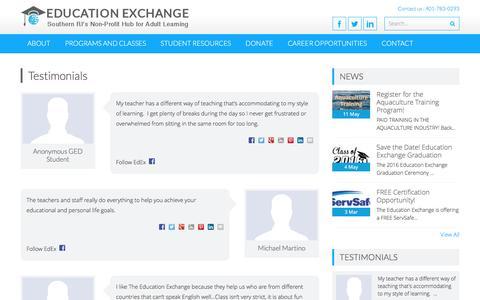 Screenshot of Testimonials Page edexri.org - Testimonials – The Education Exchange - captured June 17, 2016