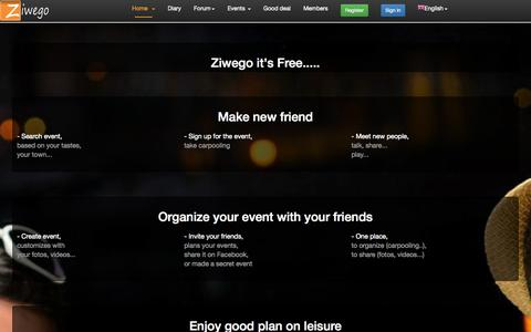 Screenshot of Home Page ziwego.com - Friendly events and making new friends - captured Sept. 23, 2014