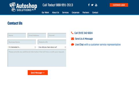 Screenshot of Contact Page Support Page autoshopsolutions.com - Contact/Support - Autoshop Solutions Inc. - captured Feb. 21, 2018