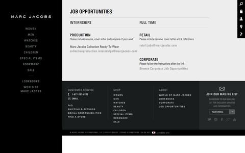 Screenshot of Jobs Page marcjacobs.com - Sites-marcjacobs-Site - captured Oct. 28, 2014