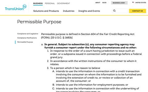 Screenshot of Support Page transunion.com - Permissible Purpose | Client Support | TransUnion - captured Oct. 24, 2018