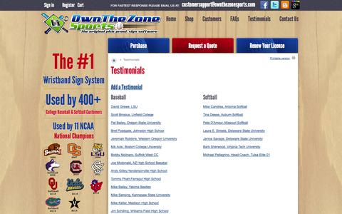 Screenshot of Testimonials Page ownthezonesports.com - Wristband Sign System - Pick-proof baseball and softball sign system and software.  Customer Testimonials. - captured Oct. 7, 2014