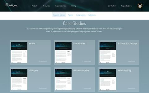Screenshot of Case Studies Page apteligent.com - Success Stories - captured Dec. 9, 2016