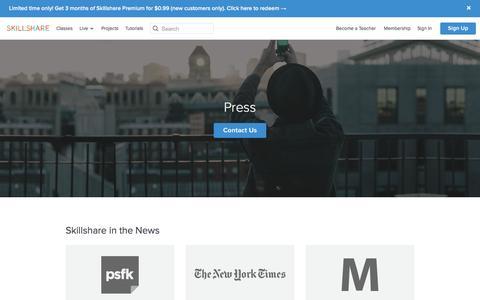 Screenshot of Press Page skillshare.com - Skillshare - Press - captured Nov. 20, 2015