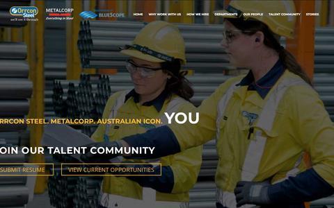 Screenshot of Jobs Page orrconsteel.com.au - Orrcon Steel & Metalcorp – Careers - captured Sept. 20, 2018