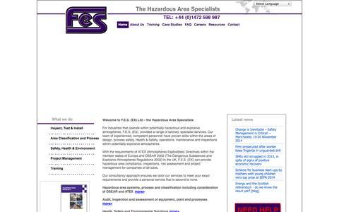 Screenshot of Home Page fes-ex.com - FES: Hazardous Area Specialists  - Home - captured Oct. 4, 2014