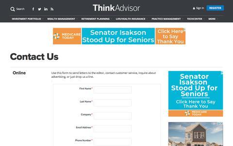 Screenshot of Contact Page thinkadvisor.com - Contact Us   ThinkAdvisor - captured Aug. 22, 2019