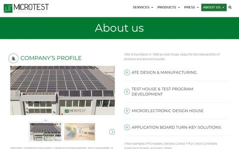 Screenshot of About Page microtest.net - Microtest Srl | About us - Sustainability and Innovation | Lucca, Italy - captured Oct. 18, 2018