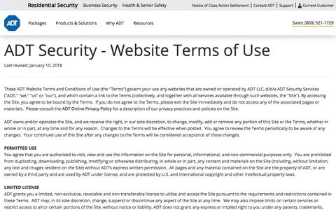 ADT Security Websites Terms of Use - ADT Security Services
