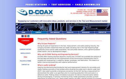 Screenshot of FAQ Page d-coax.com - D-COAX FAQ's - captured Sept. 30, 2018