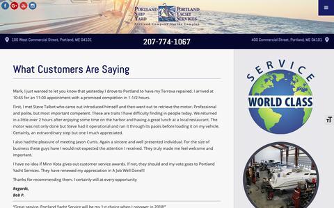 Screenshot of Testimonials Page portlandyacht.com - What Customers Are Saying | Customer Testimonials - captured Sept. 28, 2018