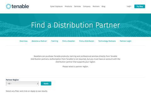 Find a Distribution Partner | Tenable™