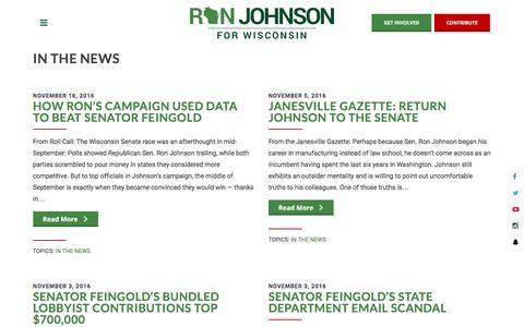 Screenshot of Press Page ronjohnsonforsenate.com - Ron Johnson for Senate - captured Dec. 11, 2016