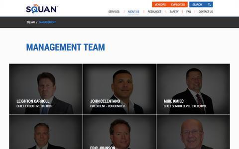 Screenshot of Team Page squan.com - Management | Squan - captured Feb. 28, 2016