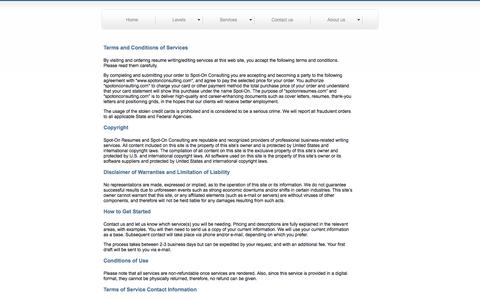 Screenshot of Terms Page spotonconsulting.com - .: Spot On Consulting - Get Started... Get Results... Get to Work... :. - captured Oct. 9, 2014