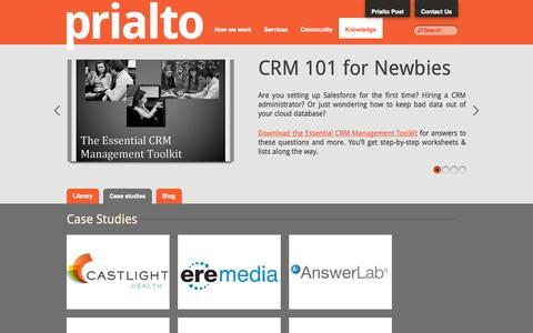 Screenshot of Case Studies Page prialto.com - Knowledge | Prialto - captured Sept. 24, 2014