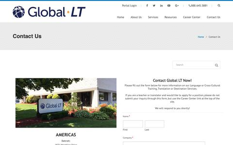Screenshot of Contact Page global-lt.com - Contact Global LT - Reach out now for Language Training or Cross-Cultural Training - captured Nov. 5, 2018