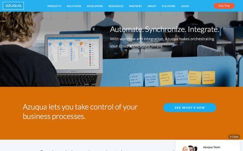 Screenshot of Products Page azuqua.com - Products | Azuqua - captured Dec. 4, 2015