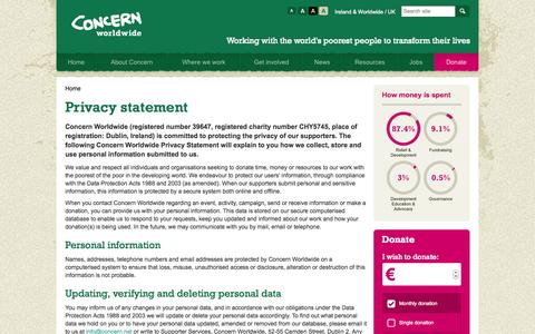 Screenshot of Privacy Page concern.net - Privacy - Concern Privacy Statement - Concern Worldwide - captured Sept. 23, 2014