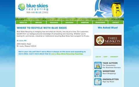Screenshot of Locations Page blueskiesrecycling.com - Where to Recycle | Locations | Blue Skies Recycling - captured Sept. 30, 2014