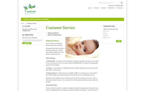 Screenshot of Support Page essensure.com - Customer Service - captured Oct. 1, 2014