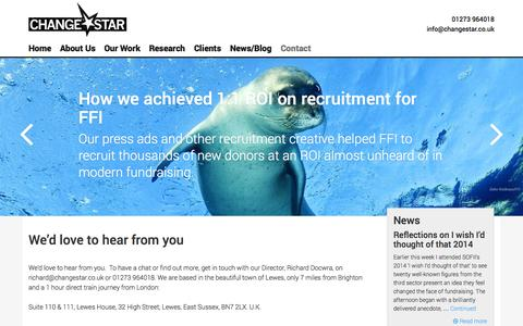 Screenshot of Contact Page changestar.co.uk - We'd love to hear from you | ChangeStar - captured Sept. 29, 2014