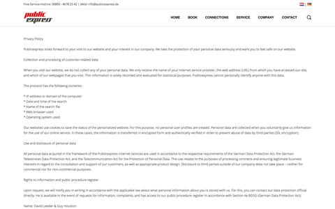 Screenshot of Privacy Page publicexpress.de - Privacy Policy - PublicexpressPublicexpress - captured Sept. 30, 2014