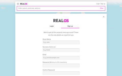 Screenshot of Signup Page realas.com - Sign up | REALas - captured Nov. 3, 2017