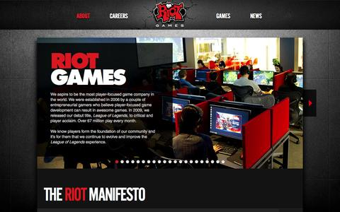 Screenshot of About Page riotgames.com - The Riot Manifesto | Riot Games - captured Sept. 17, 2014