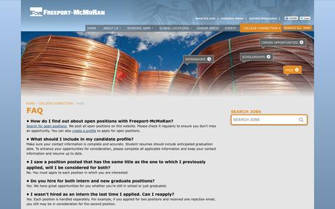 Screenshot of FAQ Page fmjobs.com - Frequently Asked Questions   Careers at Freeport-McMoRan - captured Oct. 6, 2014