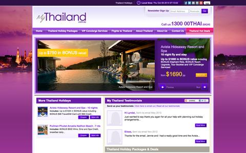 Screenshot of Home Page mythailand.com.au - Thailand Holiday Packages - My Thailand - captured Oct. 9, 2014