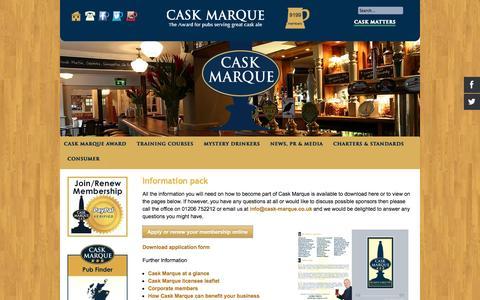 Screenshot of Signup Page cask-marque.co.uk - Information Pack - captured Oct. 28, 2014