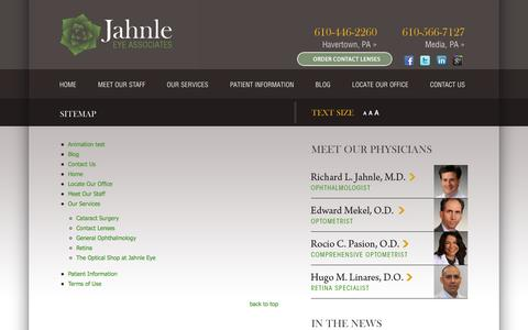 Screenshot of Site Map Page jahnleeye.com - Sitemap Havertown PA | Media PA - captured Oct. 29, 2014